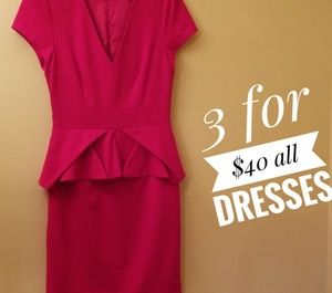 Love 21 Red V Neck Dress XS  Lined